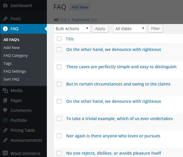 WordPress FAQ Plugin Dashboard Options
