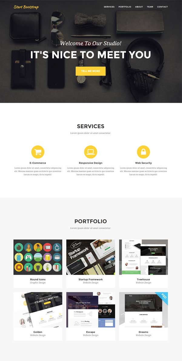Agency Free Bootstrap Template by Start Bootstrap