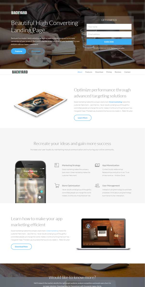 Backyard – Bootstrap Website Templates Free Download