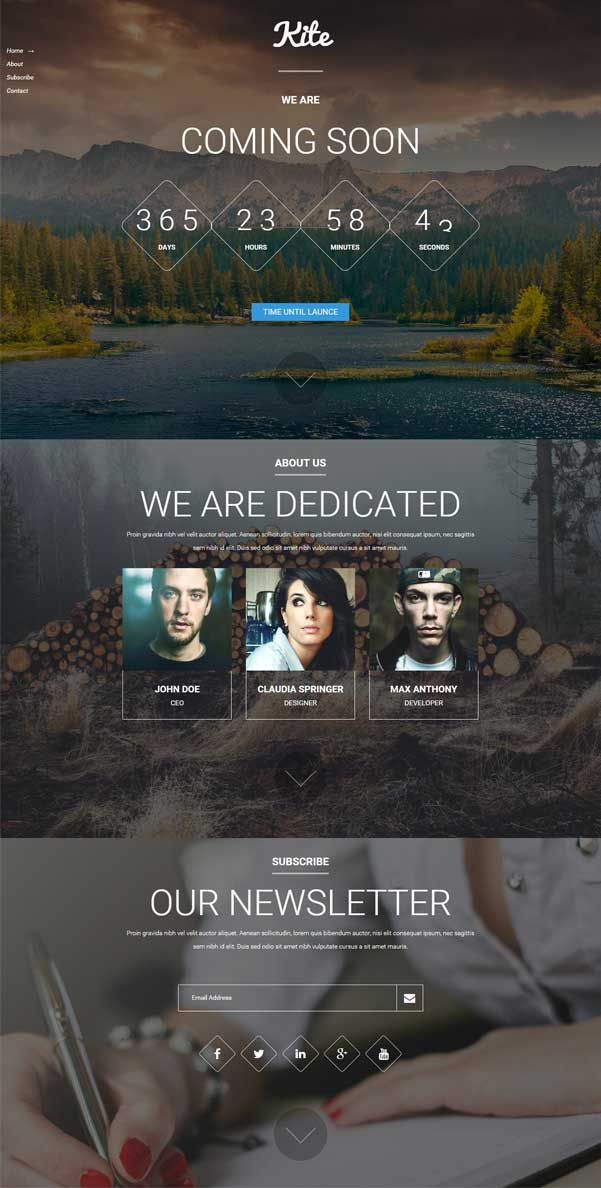 Kite Coming Soon Bootstrap Website Templates Free Download