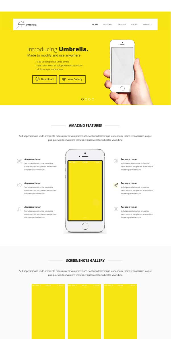 Umbrella - Mobile App Based Bootstrap Free Template