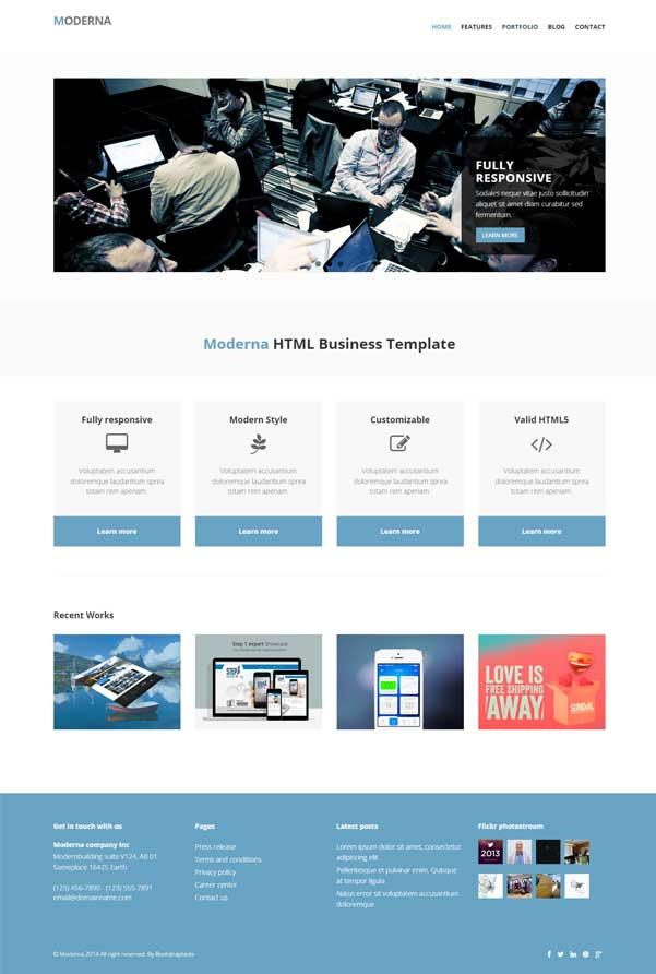 Moderna Bootstrap Website Templates Free Download