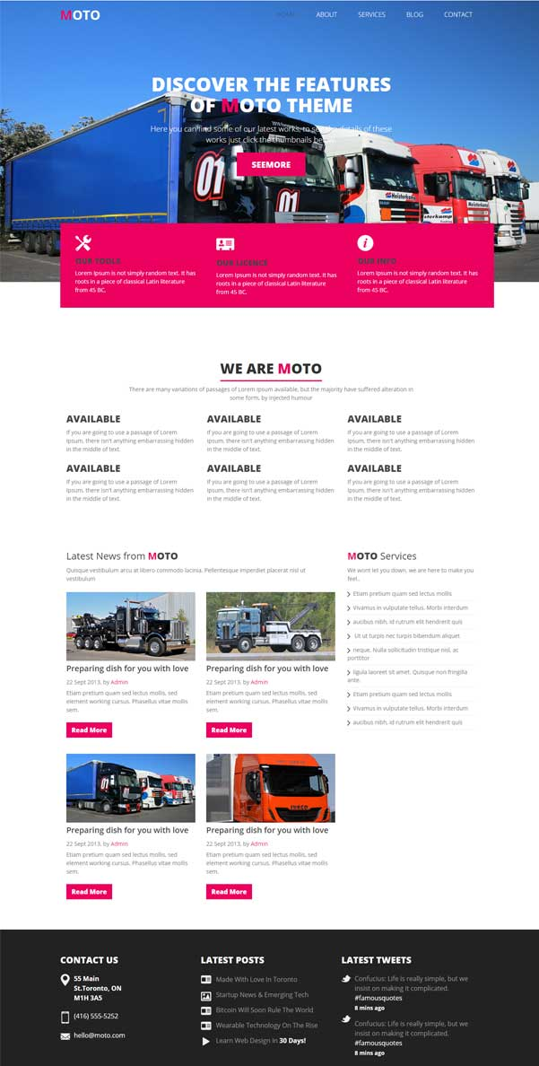Moto A Free Bootstrap Transportation Oriented Theme