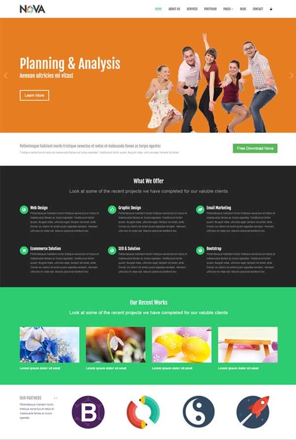 Nova – Multipurpose Bootstrap Website Templates Free Download