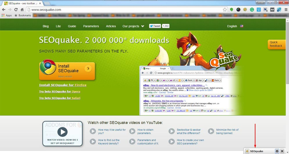 SEOquake helps to search engine friendly backlinks