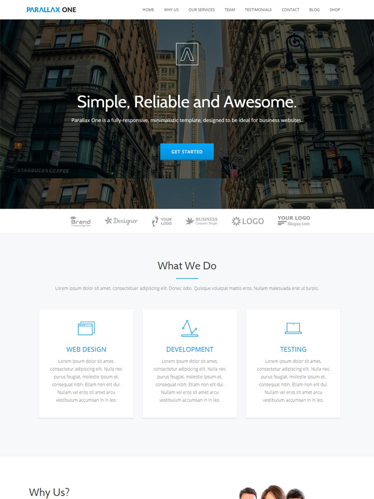 Parallax-One Free WordPress Themes of 2015