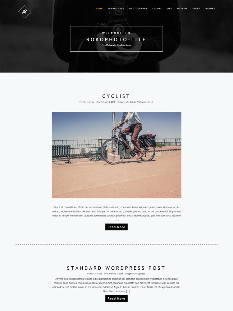 RokoPhoto-Lite Free WordPress Themes of 2015