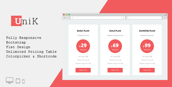 Unik – Free WordPress Pricing Table