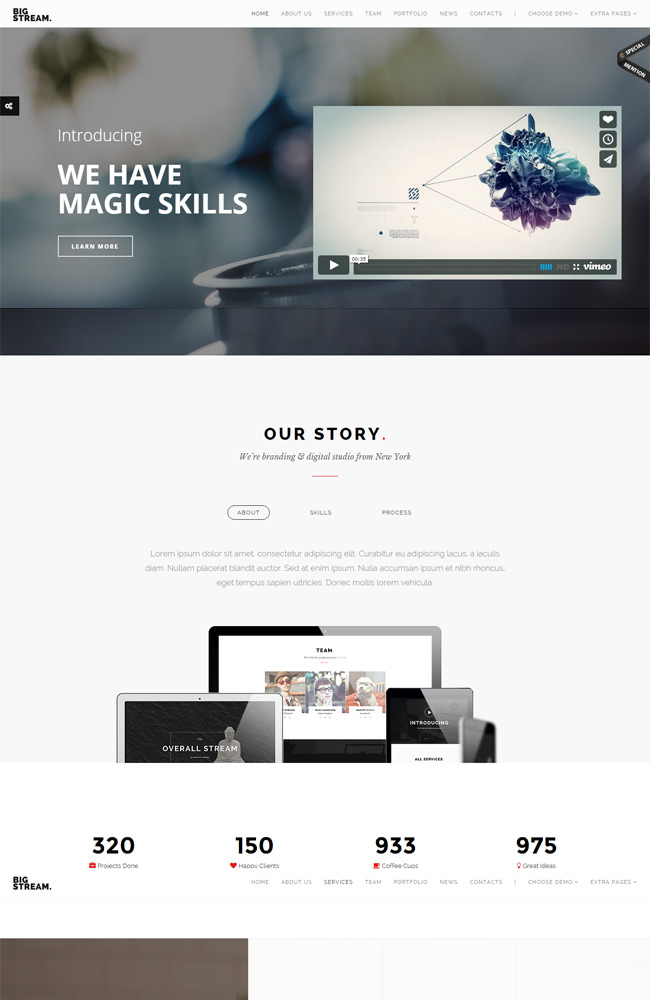 BigStream - Multi/One Page Responsive WordPress Theme