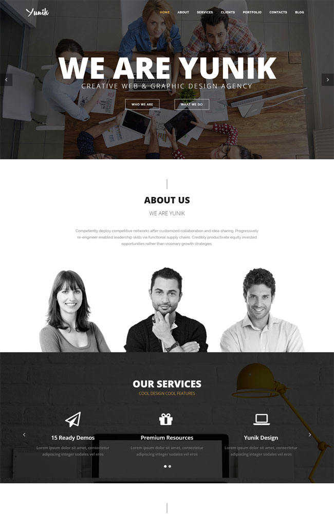 Yunik - Best Portfolio WordPress Themes