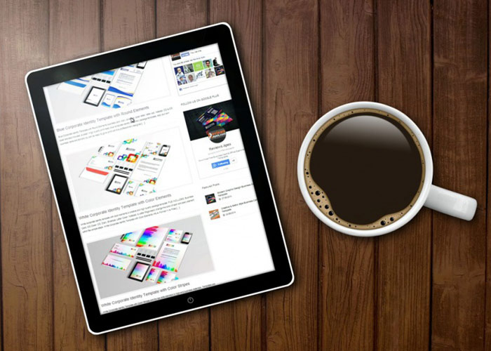 iPad Mockup With Coffee