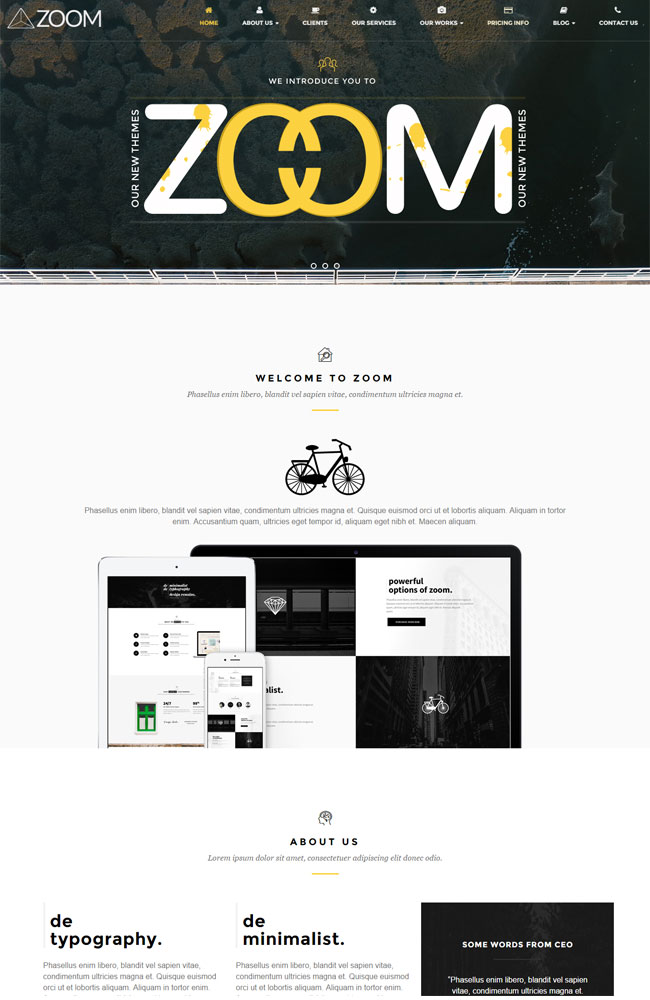 Zoom - Zooming Page and One Page WordPress Theme