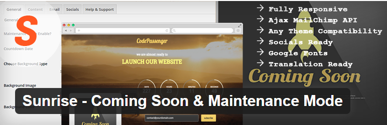 Sunrise Free Coming Soon WordPress Plugin