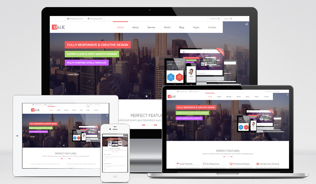 Unik Responsive Multipurpose Website Template