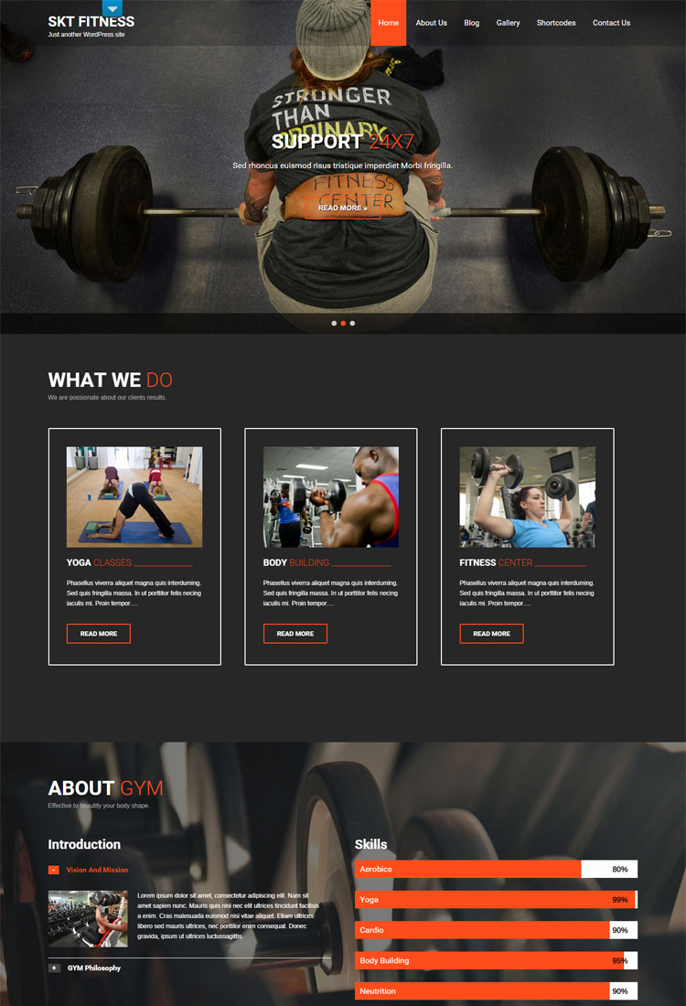 Fitness Lite Theme for GYM and Yoga Sites