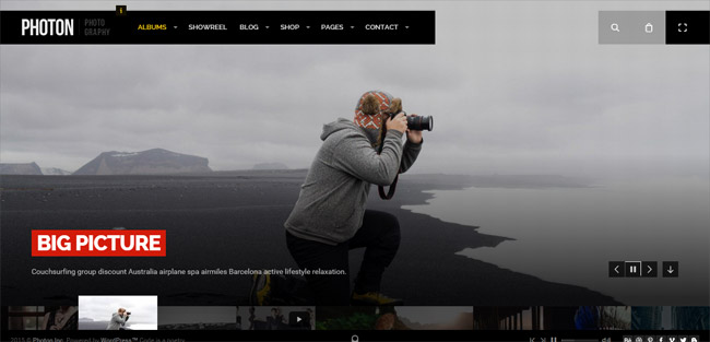 Fullscreen Photography WordPress Theme
