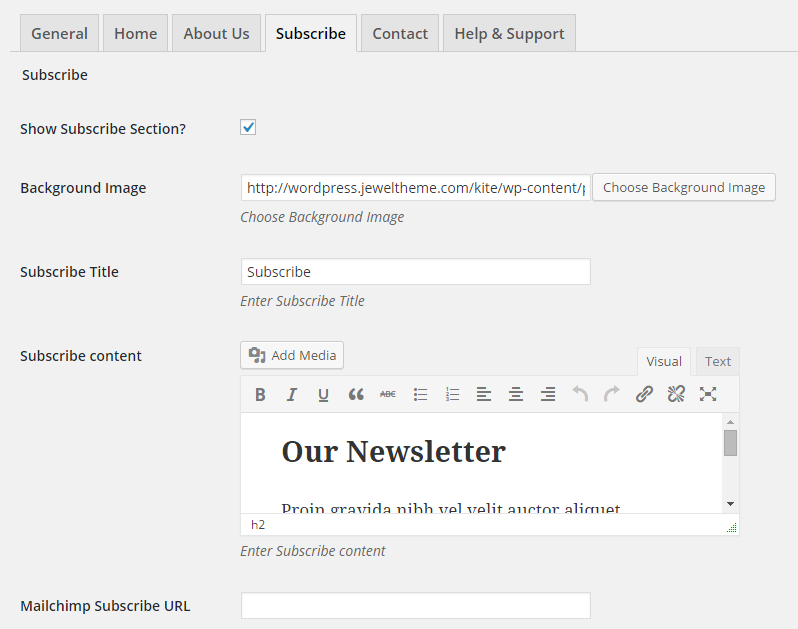 Subscribe Section of Kite Plugin