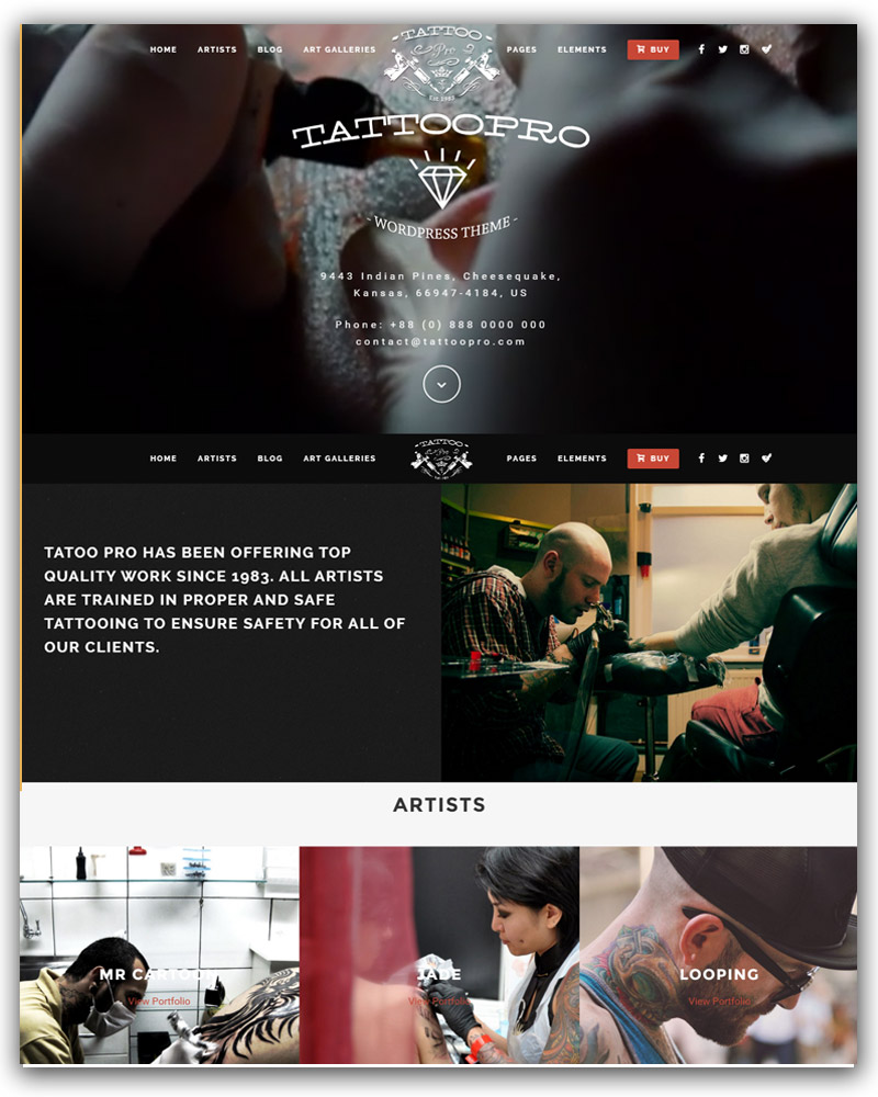 Your Tattoo Shop WordPress Theme