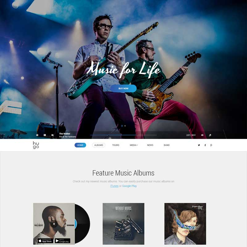 Hugo - Music / Artist / Singers / Bands WordPress