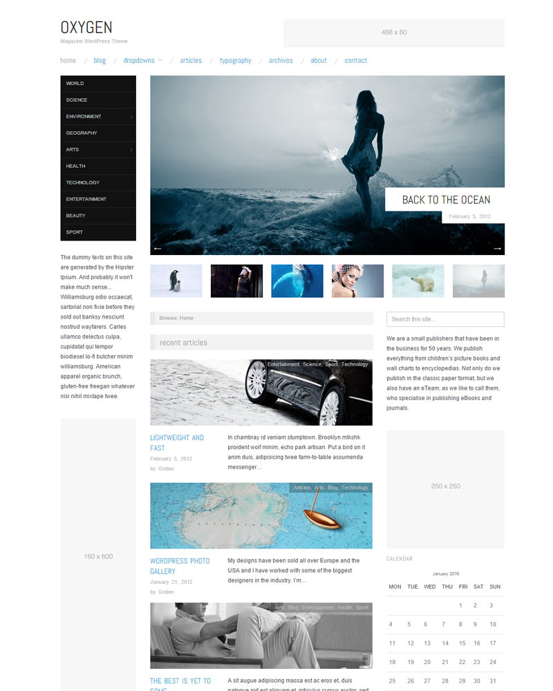 Oxygen WP Theme Download