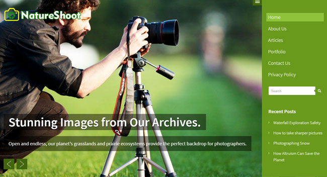 Nature Shoot WordPress Theme