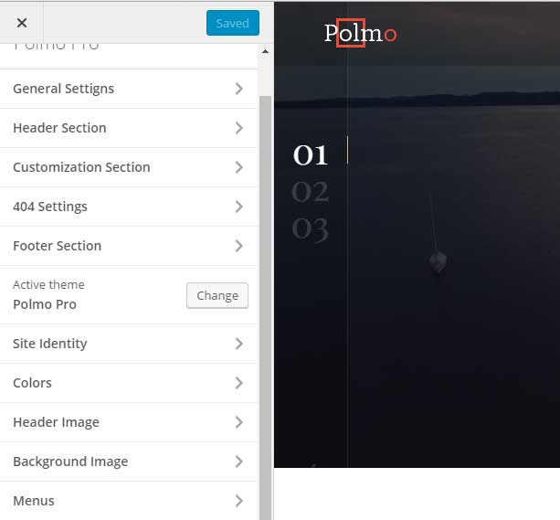 Polmo WordPress Customizer