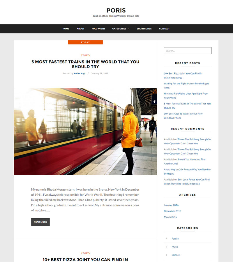 Poris Free WordPress Themes