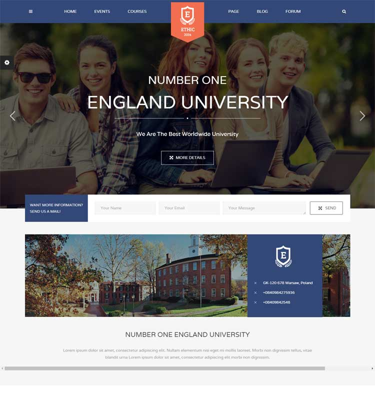 Education, Event, and Course - ETHIC LMS Theme