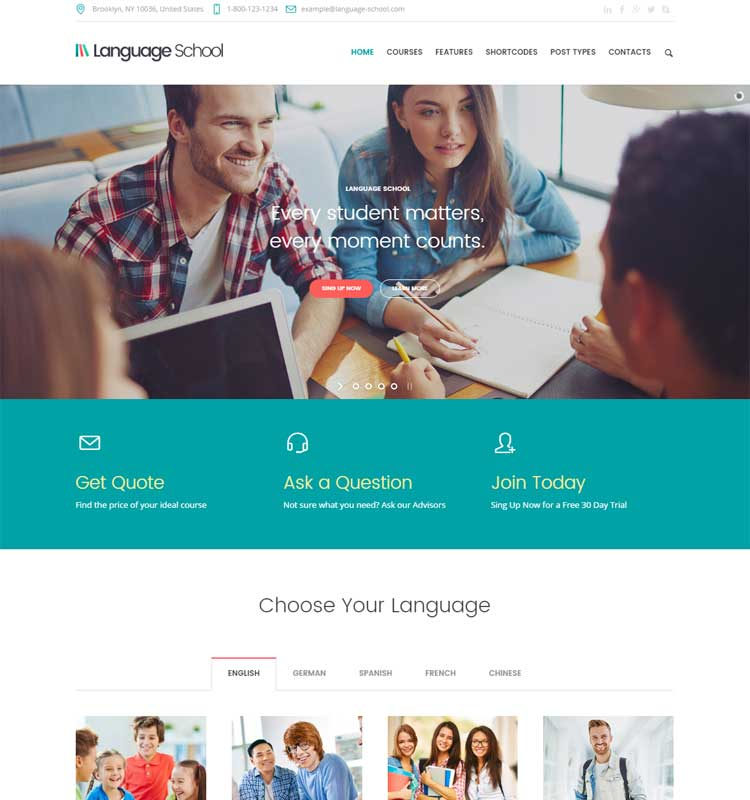 Language School - Education WordPress Theme