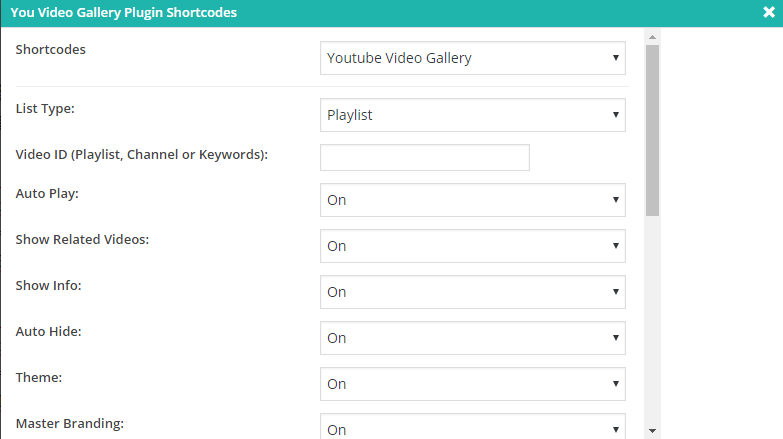 You Video Gallery Shortcode Generator