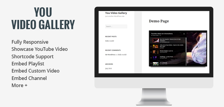 You Video Gallery YouTube Plugin