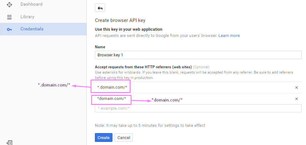 Put Domain in Google Console