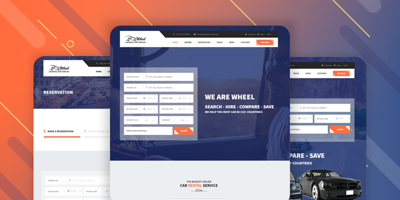 Wheel Car Rental Booking Website Template - Booking website template