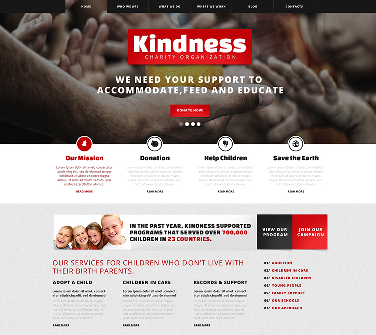 Kind Children Charity WordPress Theme