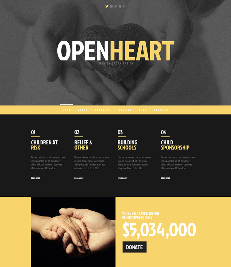 Open Heart Charity Responsive WordPress Theme