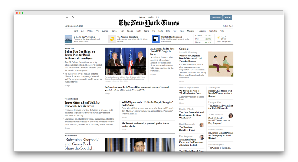 NyTimes Homepage