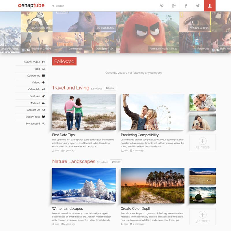 Snaptube Theme for Video Website