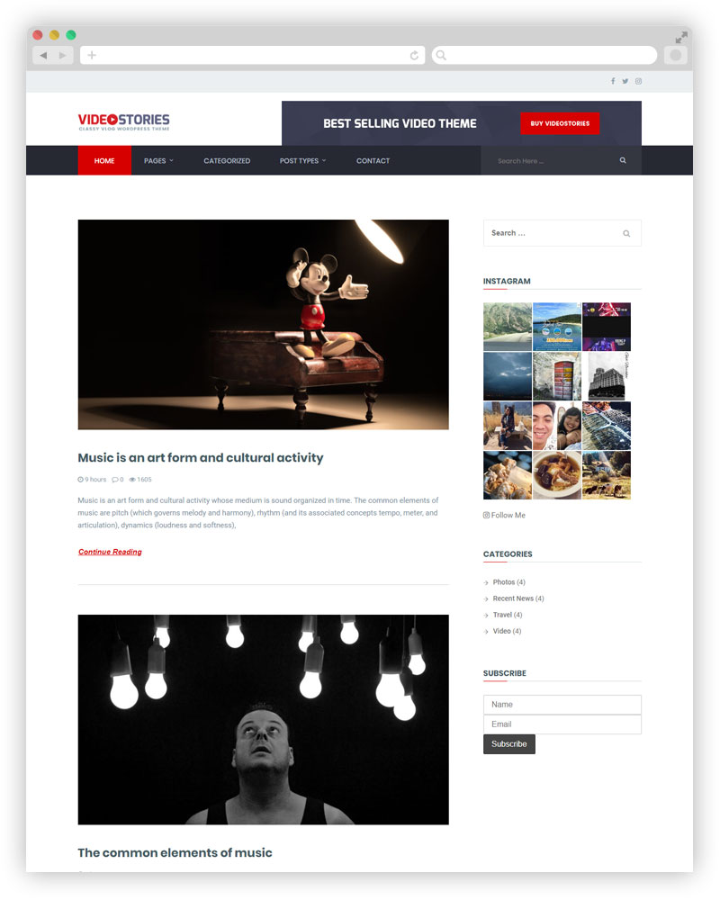 videostories Free Blog Theme